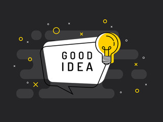 Quick Tips badge with light bulb and speech bubble. Trendy flat vector on black background. Vector Illustration.