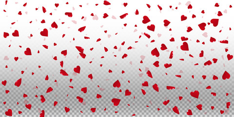 3d hearts valentine background. Wide scatter on transparent grid light background. 3d hearts valentines day extraordinary design. Vector illustration.