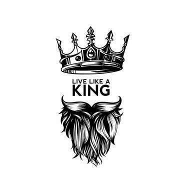 King crown, moustache and beard logo vector illustration