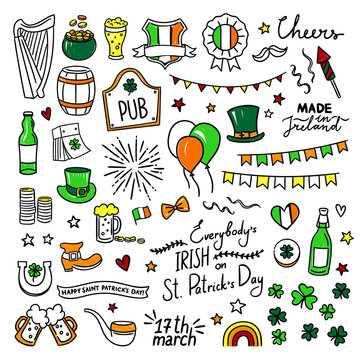 Hand drawn St. Patrick's Day cute doodle vector illustrations. Ireland celebration party design