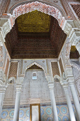 Architectural detail at Bahia palace in Marrakesh, Morocco, Africa