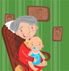 Grandmother with her grandson, photo on the background of retro room interior, best moments on pictures, portrait of family members vector Illustration