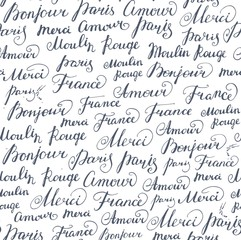 Seamless background with ink French inscriptions