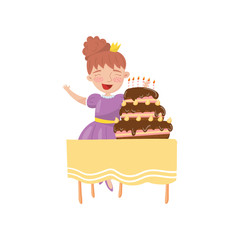 Happy young woman with birthday cake cartoon vector Illustration