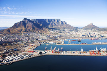 Aerial view of Cape Town with Table Mountain, Cape Town Harbour, Devil's Peak, Lion's Head in South Africa