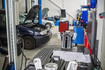 Garage, workshop on repair and maintenance of vehicles