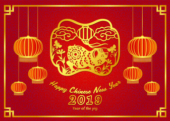 Happy chinese new year 2019 card with Gold pig zodiac sign and lantern on chinese frame and red background vector design