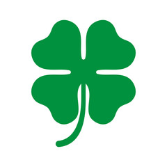 Green shamrock clover icon. Irish symbol of luck.
