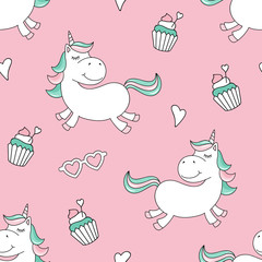Seamless pattern with magical unicorn and cupcakes