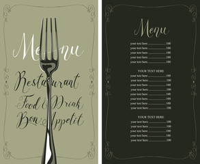 Vector template restaurant menu with price list, realistic fork and handwritten inscriptions in frame with curls in retro style