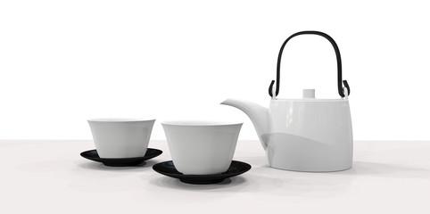 白い茶器と黒のお皿