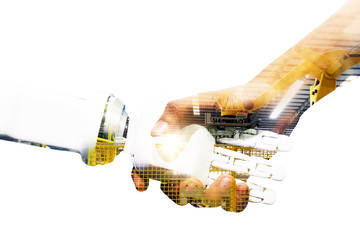 Artificial intelligence and robotic concepts. Industrial 4.0 Cyber Physical Systems concept. Double exposure of Robot and Engineer human holding hand with handshake and automate machine background.