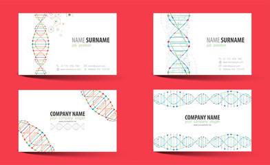 Creative double-sided business card  template. DNA theme.