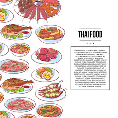 Thai food poster with tom yam soup, steamed rice, satay skewers, green curry, fish and crabs, noodles with shrimp and papaya salad cuisine dishes. Asian restaurant menu element vector illustration