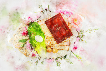 watercolor style and abstract image of Pesah celebration concept (jewish Passover holiday).