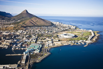 Aerial view of Cape Town with V&A Waterfront, Cape Town Stadium, Lion's Head, Signal Hill and Greenpoint, South Africa