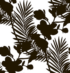 Black Shape Seamless Pattern with Drawn Flowers Plants