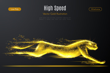 Low poly illustration of the cheetah with a golden dust effect. Sparkle stardust. Glittering vector with gold particles on dark background. Polygonal wireframe from dots and lines.