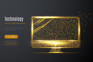 Low poly illustration of the Monitor of computer with a golden dust effect. Sparkle stardust. Glittering vector with gold particles on dark background. Polygonal wireframe from dots and lines.