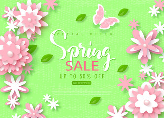 Spring sale banner. Beautiful Background with paper flowers. Vector illustration for website , posters, email and newsletter designs, ads, coupons, promotional material.