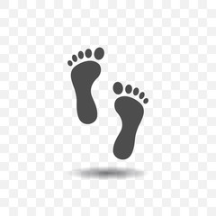 Footprint icon simple vector on transparent background.