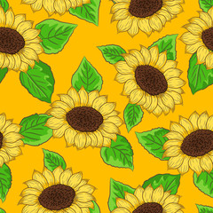 Sunflower vector with green leaves seamless pattern on yellow sun background