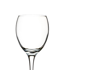 empty glass of wine close-up on a white background (isolate).