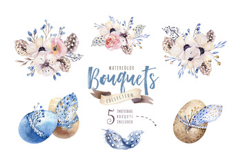 Watercolor boho floral illustration. Bohemian flower bouquets, wreaths, arrangements for wedding, anniversary, birthday, invitations, greetings, cards