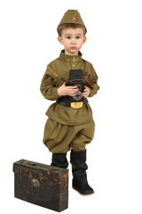 The little military correspondent with retro photo camera