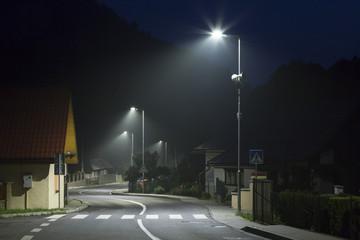empty night street on small village with modern street lights Fotomurales