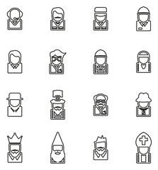 Avatar or Profile Picture Icons Set 4 Thin Line Vector Illustration Set