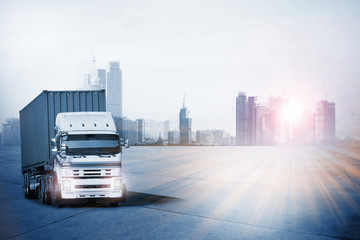 Transportation, import-export and logistics concept, container truck, transport and import-export commercial logistic, shipping business industry