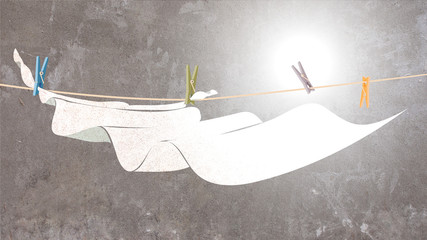 Illustration of White Sheet Waving on Clothesline Painted on Concrete Background