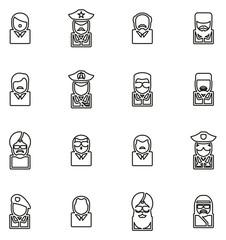 Avatar Icons Famous Dictators Thin Line Vector Illustration Set