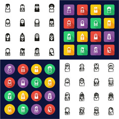Avatar Famous Musicians All in One Icons Black & White Color Flat Design Freehand Set 1
