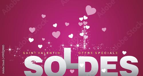 Valentines Day Sale (French Language   Saint Valentin Soldes) Pink Vector