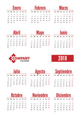 Spanish vertical calendar 2018. Week starts from Monday. Vector template pocket calendar for business on white background.