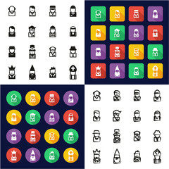 Avatar All in One Icons Black & White Color Flat Design Freehand Set 4
