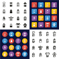 Avatar All in One Icons Black & White Color Flat Design Freehand Set 1