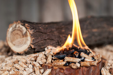 Burning wooden pellets