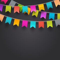 Multicolored flags garlands, Vector illustration.