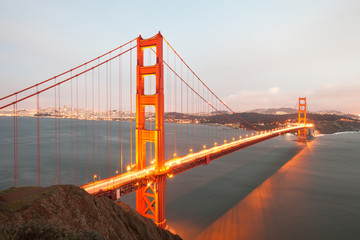 The Golden Gate Bridge in San Francisco from above, California