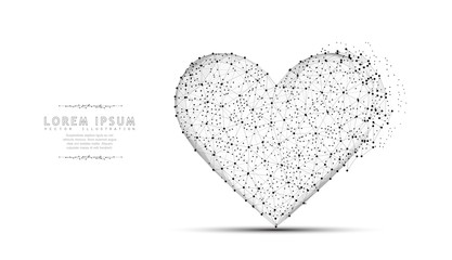 Heart. Abstract polygonal wireframe mesh art. Valentine day, greeting, health, cardiology Concept illustration.