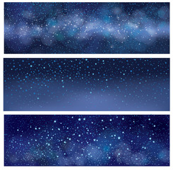 Vector starry sky   banners.  Milky way galaxy.