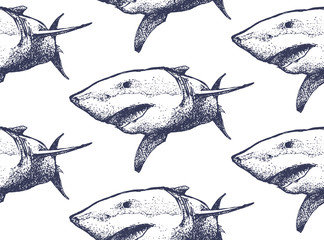 Seamless texture. Repeating background. Tile pattern. Ornament with beautiful hand drawn shark with open mouth. Blue sharks on a white background.