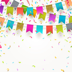 Multicolored flags garlands and colorful confetti.  Vector illustration.