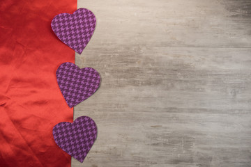 Happy valentine day hearts on wooden background