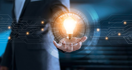 Innovation and technology concept. Businessman holding light bulb with global network connection and word of business on virtual screen interface