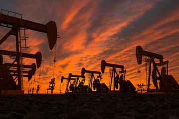 3D render of pump jacks in an oil field