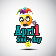April fool 's day, typography, vector illustration, colorful, cartoon, joker,funny